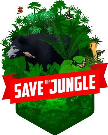 vector jungle rainforest emblem with indian sloth bear, cobra and butterflies