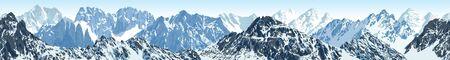 vector seamless mountains tibet himalayan panorama