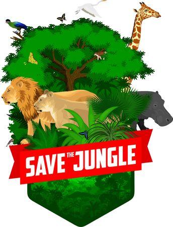 vector jungle rainforest emblem with giraffe, lions, hippo, Hartlaubs turaco and butterflies Stock Illustratie