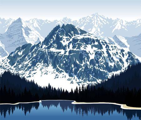 Vector beautiful lake in mountains Stock Illustratie