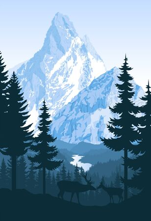 vector mountains with river and couple of white tailed deers Stock Illustratie