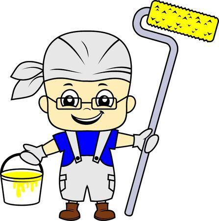 vector cartoon cute kid painter with roller brush Stock Illustratie