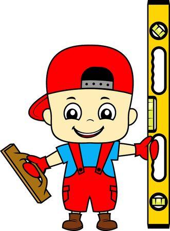 Vektorkarikatur-süßer Kinderstuckateurarbeiter mit Verputzkelle und Wasserwaage