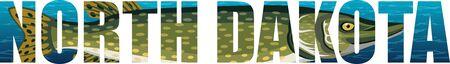 wektor Dakota Północna - amerykańskie słowo stanowe z Northern Pike