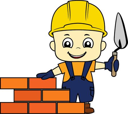 vector cartoon cute kid bricklayer masonry worker with helmet and trowel putty knife