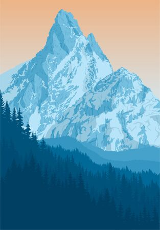 vector blue morning mountains landscape