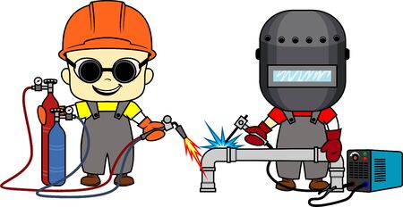 vector cartoon cute kids Welder and metal cutter with welding torch and Oxy acetylene torch