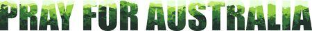 Pray for Australia Save Green Jungle Rainforest - Fire Deforestation Concept Landscape Vector Illustration