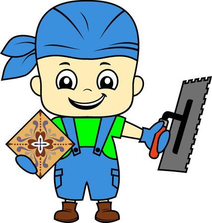 vector cartoon cute kid tiler worker with Notch trowel