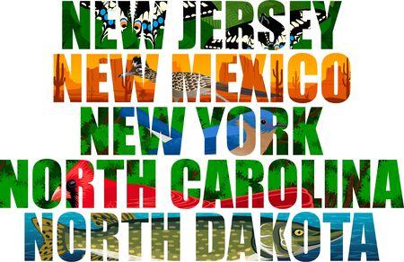 vector set of American states word with animals - New Jersey, New Mexico, New York, North Carolina, North Dakota