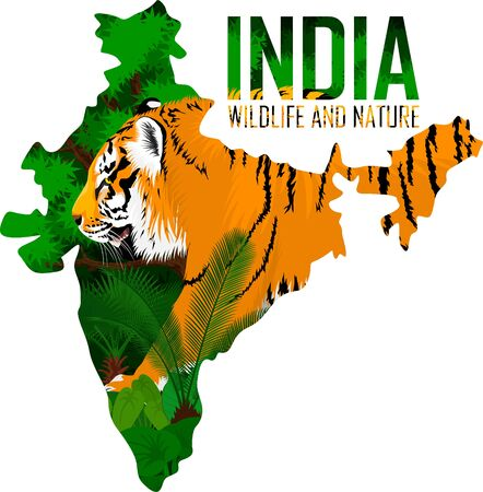 vector India map with tiger