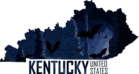 vector Kentucky - American state map with bats in cave Иллюстрация