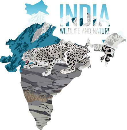 vector India map with snow leopard