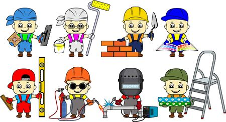 set of cartoon cute kid Builders: repairman, tiler, bricklayer, plasterer, decorator, painter, Welder and metal cutter