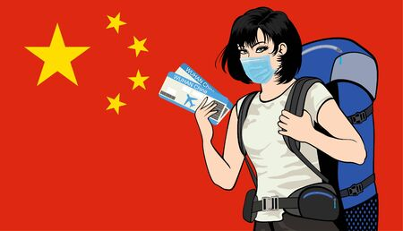 girl with a mask holding plane tickets on the background of the China flag.