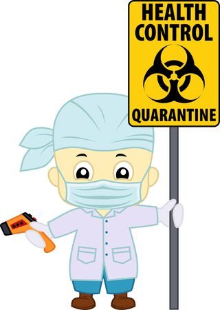 vector cute doctor with non-contact thermometr and biohazard sign Stock Illustratie