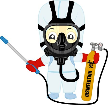 vector cute medical scientist in hazmat suits cleaning and disinfecting coronavirus epidemic MERS-CoV. Concept 2019-nCoV pandemic health illustration.