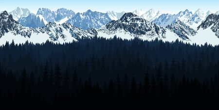 vector seamless Rocky Mountain National Park with woodland background illustration