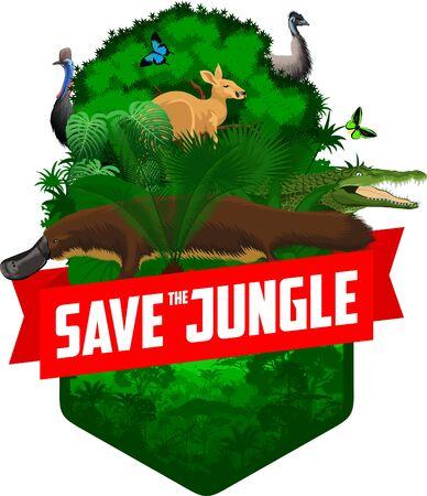 vector jungle rainforest emblem with platypus, ostrich emu, cassowary, salltwater crocodile and butterflies