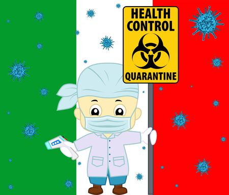 vector 2019-ncovvirus and italian doctor with non-contact thermometr and biohazard sign