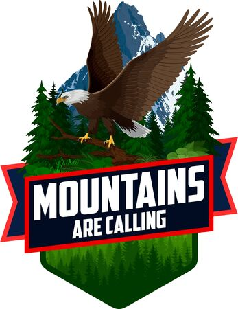 The Mountains Are Calling. vector Outdoor Adventure Inspiring Motivation Emblem   illustration with Bald eagle