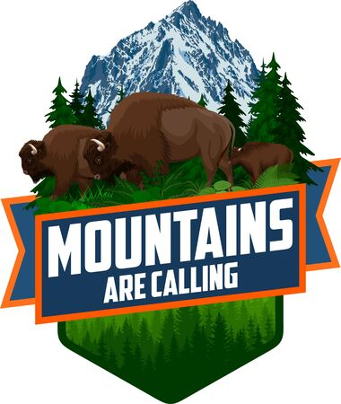 The Mountains Are Calling. vector Outdoor Adventure Inspiring Motivation Emblem   illustration with family of brown zubr buffalo bisons with kid