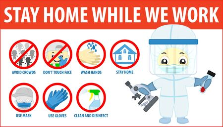 vector Coronavirus infographics. Prevention of CoV-2019 are shown for quarantine. Use mask and gloves, wash hands with soap, avoid crowds, don't touch face and stay at home. Doctor with microscope. Ilustração