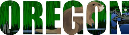 vector Oregon - American state word with Beaver