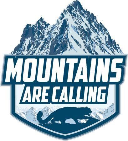 The Mountains Are Calling. vector Outdoor Adventure Inspiring Motivation Emblem logo illustration with mountains snow leopard Ilustração