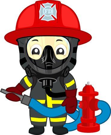 enfant de pompier mignon de vecteur avec bouche d'incendie