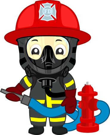 vector cute firefighter kid with hydrant