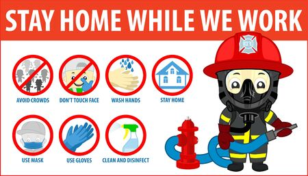 vector Coronavirus infographics. Prevention of CoV-2019 are shown for quarantine. Use mask and gloves, wash hands with soap, avoid crowds, don't touch face and stay home. Firefighter with hydrant. Ilustração