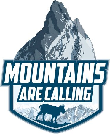 The Mountains Are Calling. vector Outdoor Adventure Inspiring Motivation Emblem logo illustration with Rocky Mountains goat