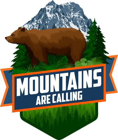The Mountains Are Calling. vector Outdoor Adventure Inspiring Motivation Emblem logo illustration with brown grizzly bear Ilustrace