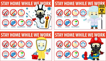 vector Coronavirus infographics. Prevention of CoV-2019 are shown for quarantine. Firefighter with hydrant, disinfector, Doctor in virus protection suit with thermometr. Ilustração