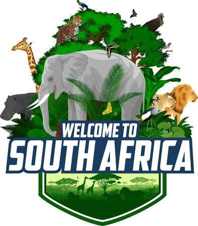 vector south african emblem with animals with giraffe, elephant, lions, hippo, Hartlaub's turaco and butterflies Ilustração
