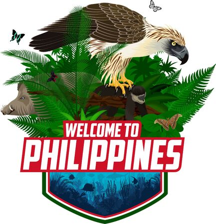 Vector Philippines jungle rainforest emblem with coral reef, giant atlas moth, bearded pig and philippine eagle with monkey Ilustração