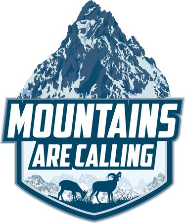 The Mountains Are Calling. vector Outdoor Adventure Inspiring Motivation Emblem   illustration with himalayan mountain goats