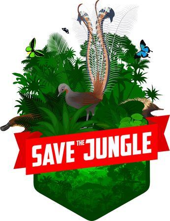 vector jungle rainforest emblem with platypus, Lyrebird, Echidna and butterflies