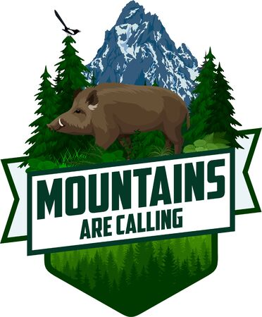 The Mountains Are Calling. vector Outdoor Adventure Inspiring Motivation Emblem   illustration with wild hog boar and magpie Illusztráció