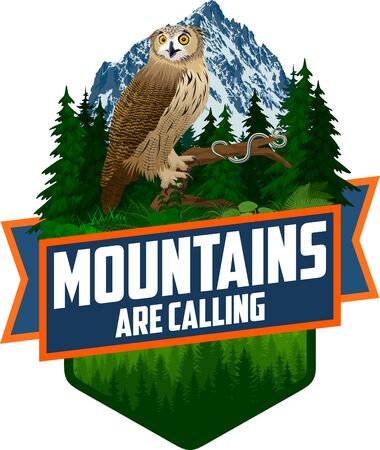 The Mountains Are Calling. vector Outdoor Adventure Inspiring Motivation Emblem  illustration with eagle owl and Common garter snake Ilustracja
