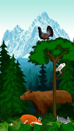vector mountains woodland green forest trees backlit with bear, red fox, rabbit, barn owl and wood grouse