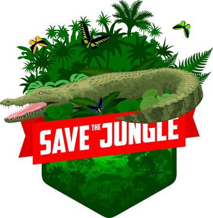 vector jungle rainforest emblem with Australian saltwater crocodile