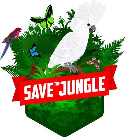 vector jungle rainforest emblem with Australian white cockatoo and Crimson Rosella