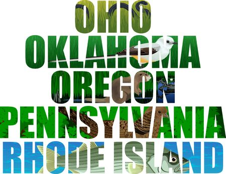 vector set of American states word with animals - Ohio, oklahoma, Oregon, Pennsylvania, Rhode island Illustration