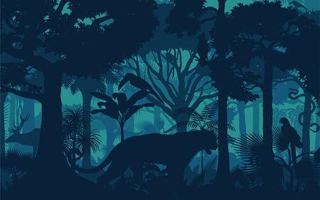 Vector evening tropical rainforest jungle background with jaguar, harpy, monkey, parrot, toucan, anaconda and deer Illustration