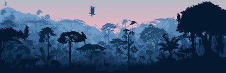 Vector horizontal tropical rainforest jungle background with animals