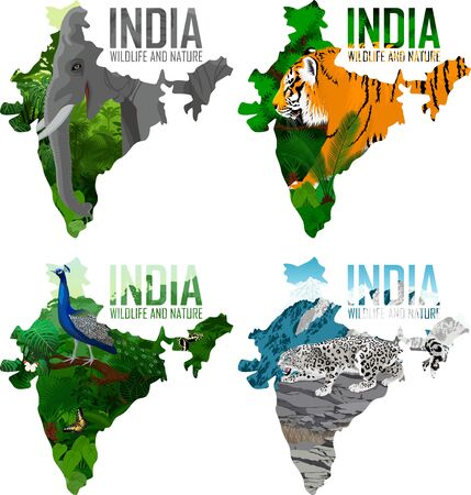vector India map with indian elephant, male peacock peafowl, tiger and snow leopard Vectores