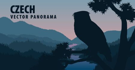 vector panorama of Czech Republic with eagle owl Vectores