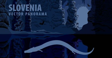 vector panorama of Slovenia with olm in cave